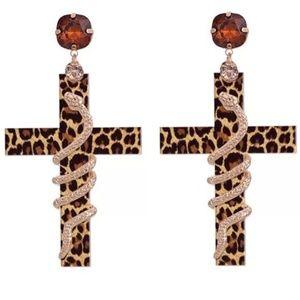 Gold & Black Leopard Print Snake Dangle Earrings